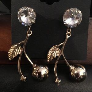 bebe Dangling Cherry & Rhinestone Crystal Earrings